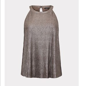 NWT TORRID PLEATED METALLIC GOLD GODDESS TANK